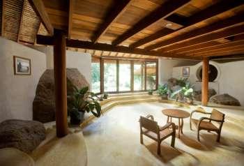 Дерево и камень в интерьере гостиной