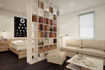 Разделение комнаты стеллажами